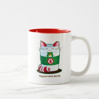 Purrista Pawfee - Cute Holiday Coffee Cat Two-Tone Coffee Mug