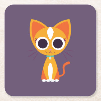Purrl the Cat Square Paper Coaster