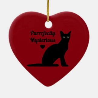 Purrrfectly Mysterious Ceramic Heart Ornament