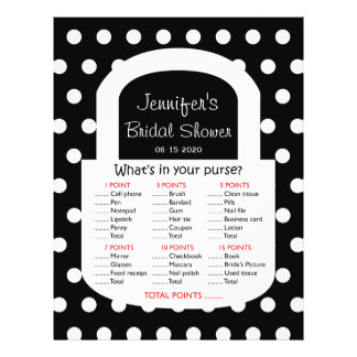 Purse Bridal Shower Game - Black Personalized Flyer