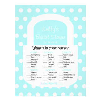 Purse Bridal Shower Game - Blue Full Color Flyer