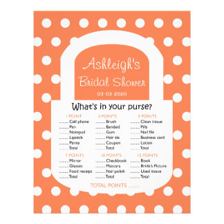 Purse Bridal Shower Game - Coral Custom Flyer