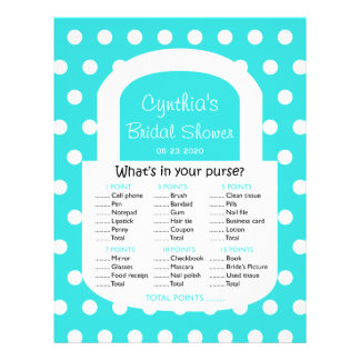 Purse Bridal Shower Game in Turquoise Flyer