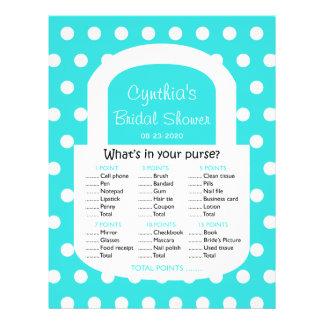 Purse Bridal Shower Game - Turquoise Flyer Design