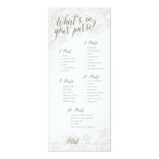 """Purse Game - Bridal Shower Game Cards 4"""" X 9.25"""" Invitation Card"""