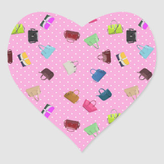 Purses, Polka Dots and Pink Background Heart Sticker