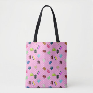 Purses, Polka Dots and Pink Background Tote Bag