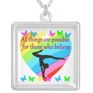 PURSING MY GYMNASTICS GOALS AND DREAMS SILVER PLATED NECKLACE