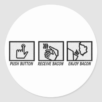 Push Button Bacon Classic Round Sticker