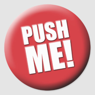 Push Me Big Red Button Classic Round Sticker
