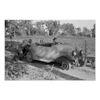 Pushing A Car, 1939. Vintage Photo Poster