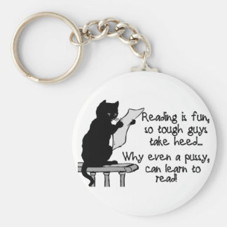 Pussy Can Read Basic Round Button Keychain