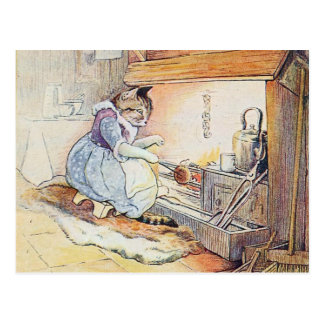 Pussy Cat Cooks by the Fireplace Postcard
