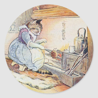 Pussy Cat Sits By the Fire Classic Round Sticker