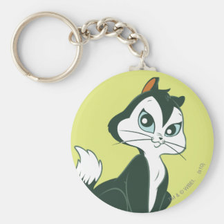 Pussy Foot Sitting Basic Round Button Keychain