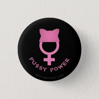 Pussy Hat Womens Power 1 Inch Round Button