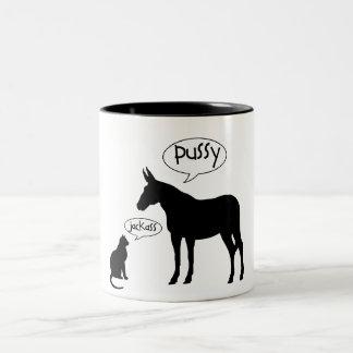 PUSSY - JACKASS Two-Tone COFFEE MUG