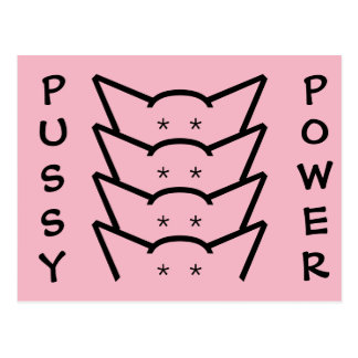 Pussy Power Cat Ears Pink Resistance Women Group Postcard