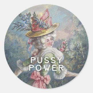 Pussy Power Classic Round Sticker