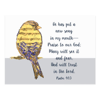 Put a Song in my Heart Bible Scripture Bird Postcard