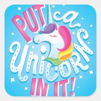 Put a Unicorn In It! sticker sheet of 20