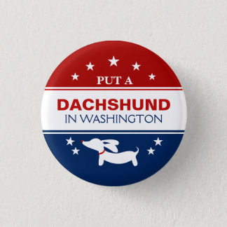 Put Dachshund in Washington Political Button