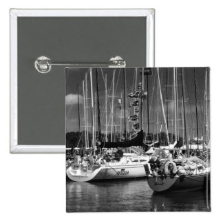 Put-n-Bay black and white boat photo 2 Inch Square Button
