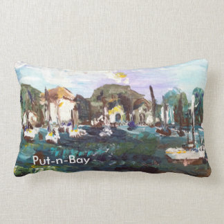 Put-n-Bay Lake Erie Island Painting #2 with words Lumbar Pillow