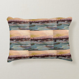 Put-n-Bay, OH Marina Painting by Willowcatdesigns Accent Pillow