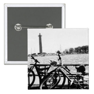 Put-n-Bay Perry Monument Black and White photo 2 Inch Square Button