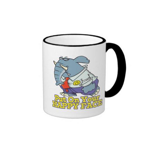 put on your happy face facade elephant ringer coffee mug