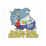 put on your happy face facade elephant postcard
