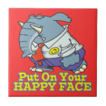 put on your happy face facade elephant ceramic tiles