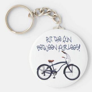 Put the FUN between your legs - blue Basic Round Button Keychain