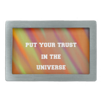 Put your trust in the universe rectangular belt buckles