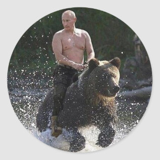 Putin rides a bear! classic round sticker
