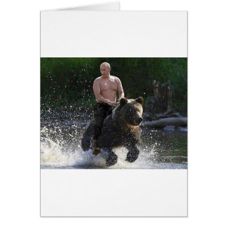 Putin rides a bear! greeting card