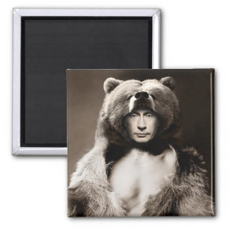 Putin the Bear Square Magnet