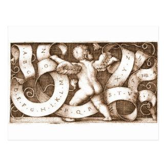 Putte Mit Spruchband Mit Alphabet vintage postcard