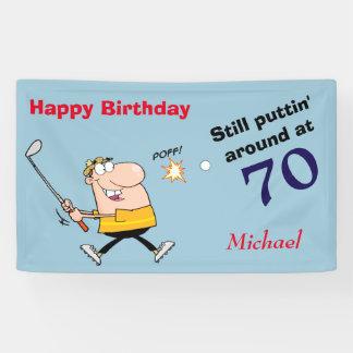 Puttin' Around 70 Golf Birthday Party Banner