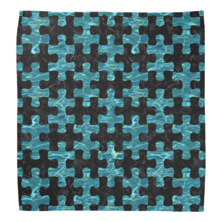 PUZZLE1 BLACK MARBLE & BLUE-GREEN WATER BANDANA