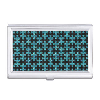 PUZZLE1 BLACK MARBLE & BLUE-GREEN WATER BUSINESS CARD HOLDER