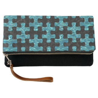 PUZZLE1 BLACK MARBLE & BLUE-GREEN WATER CLUTCH