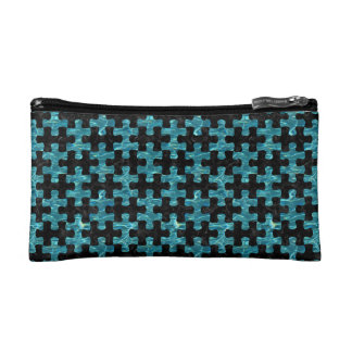 PUZZLE1 BLACK MARBLE & BLUE-GREEN WATER COSMETIC BAG