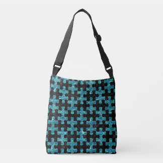 PUZZLE1 BLACK MARBLE & BLUE-GREEN WATER CROSSBODY BAG