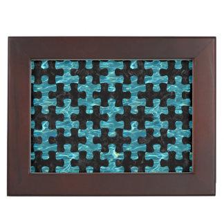 PUZZLE1 BLACK MARBLE & BLUE-GREEN WATER KEEPSAKE BOX