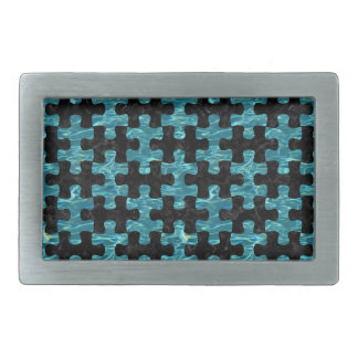 PUZZLE1 BLACK MARBLE & BLUE-GREEN WATER RECTANGULAR BELT BUCKLES