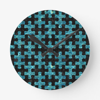PUZZLE1 BLACK MARBLE & BLUE-GREEN WATER ROUND CLOCK