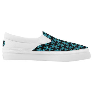 PUZZLE1 BLACK MARBLE & BLUE-GREEN WATER Slip-On SNEAKERS