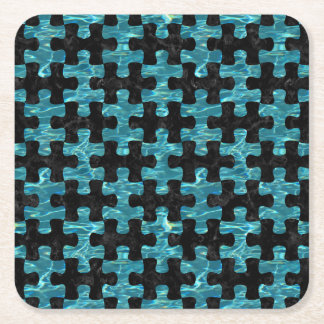 PUZZLE1 BLACK MARBLE & BLUE-GREEN WATER SQUARE PAPER COASTER